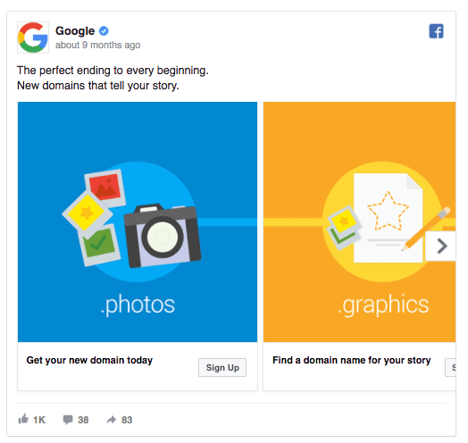 Google Facebook ad example