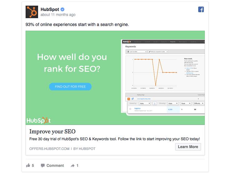 Hubspot facebook ad example