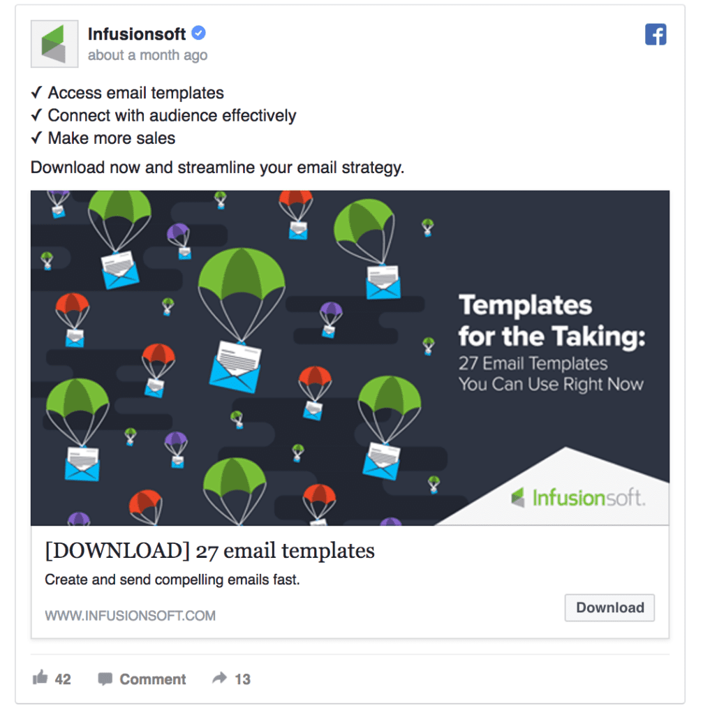Infusionsoft facebook ad example