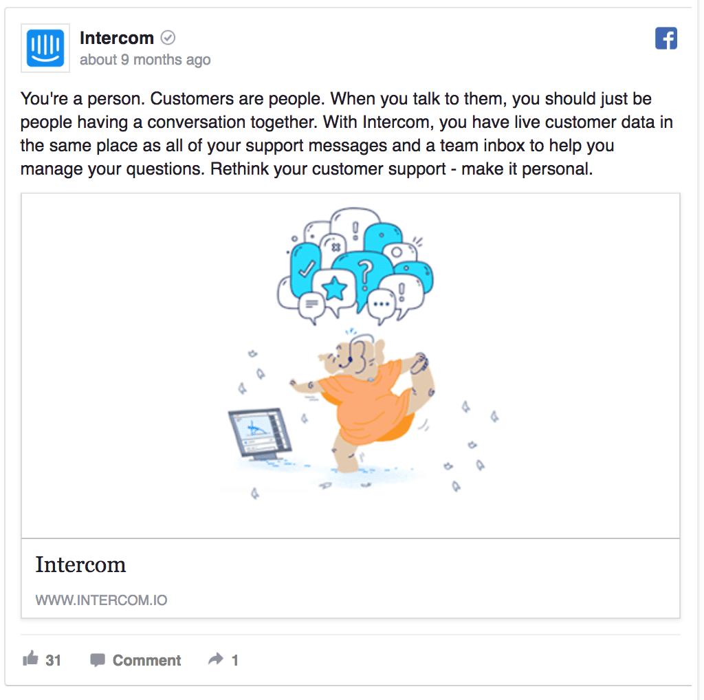 Intercom facebook ad