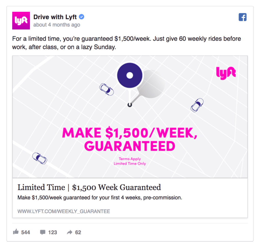 Lyft facebook ad example