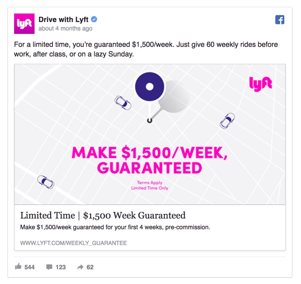 Lyft facebook ad example