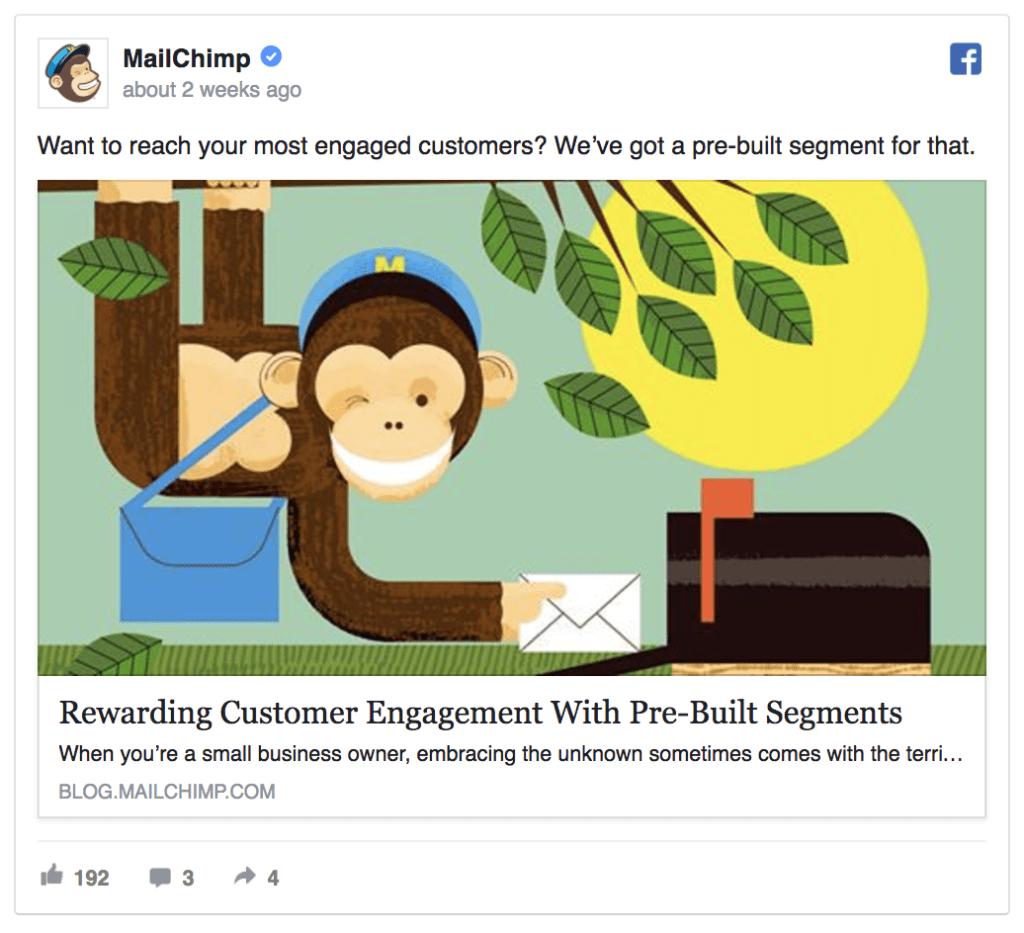 Mailchimp facebook ad example