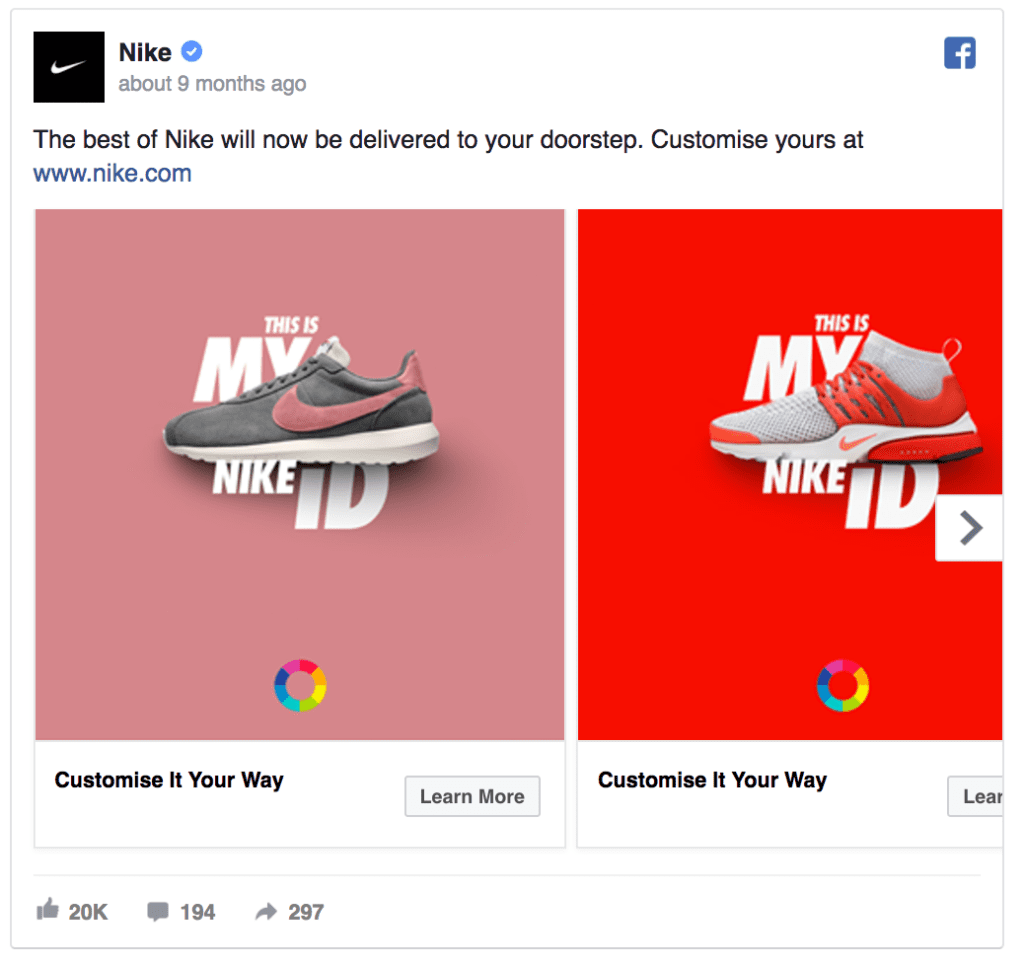 Nike facebook ad