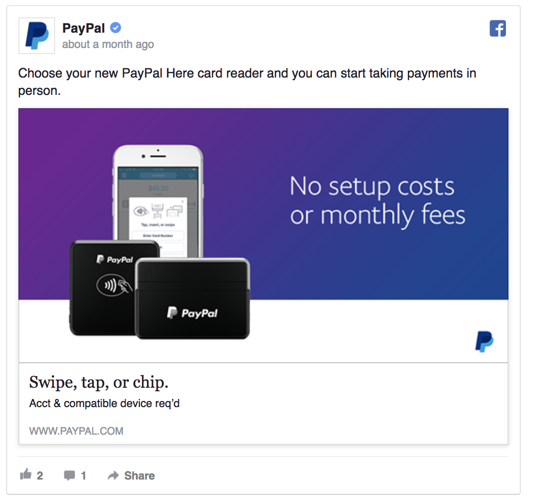 paypal facebook ad