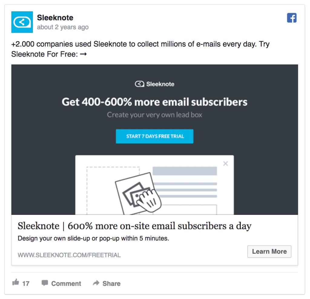 Sleeknote facebook ad