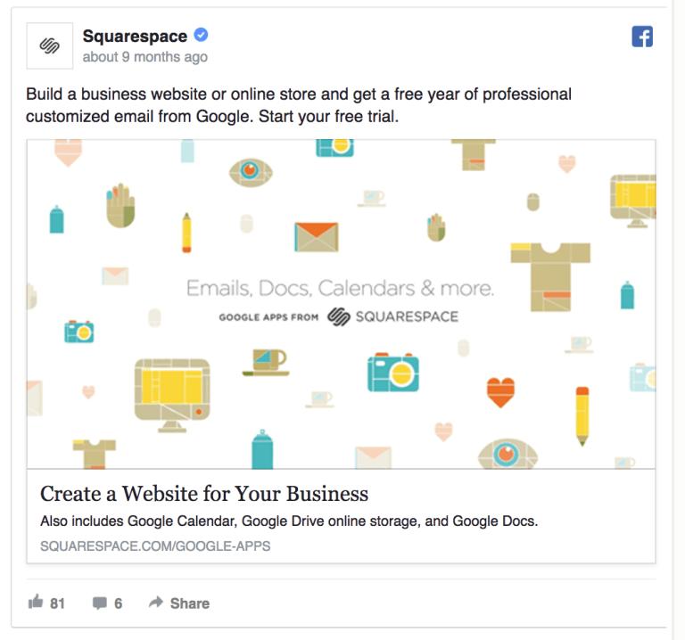 Squarespace facebook ad