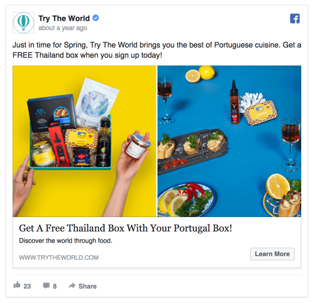 Try the world facebook ad