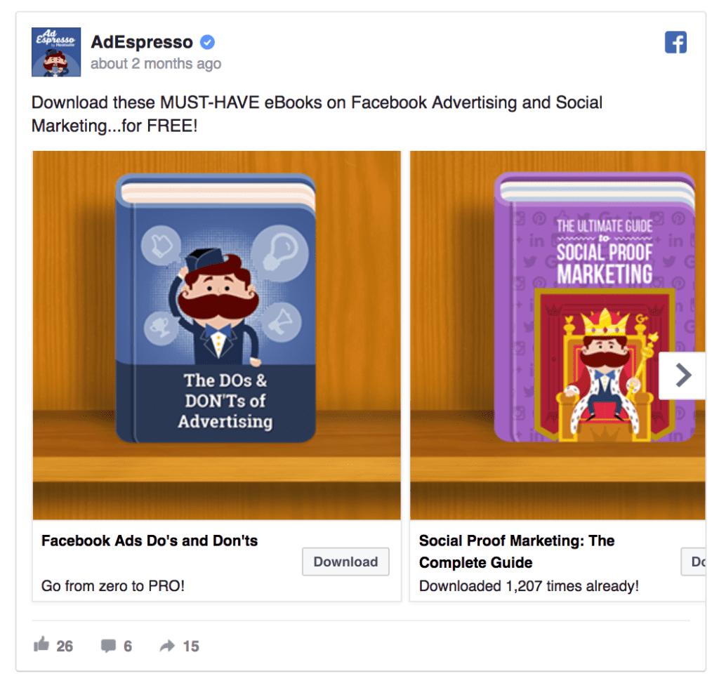 adespresso facebook ad example