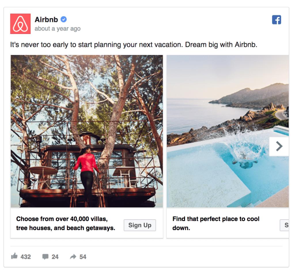 airbnb facebook ad