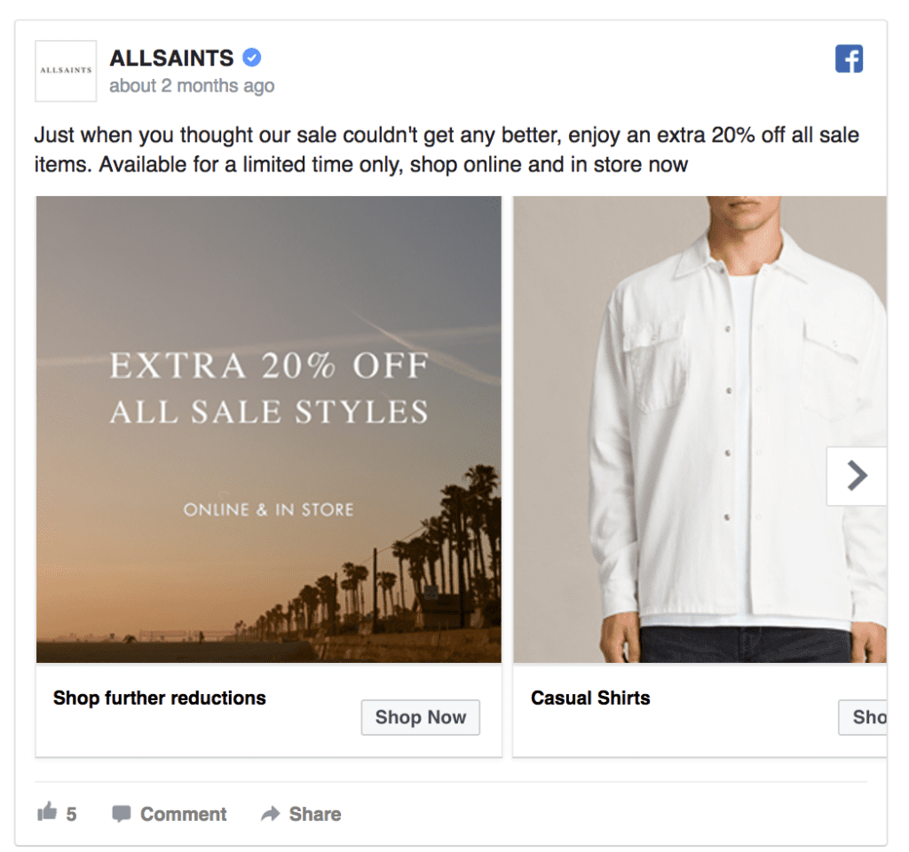 allsaints facebook ad example
