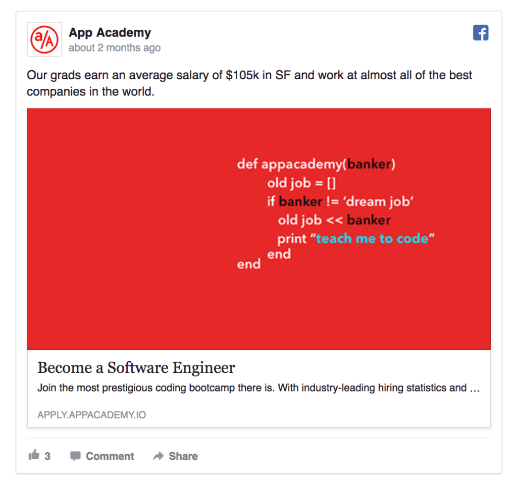 app academy facebook ad example