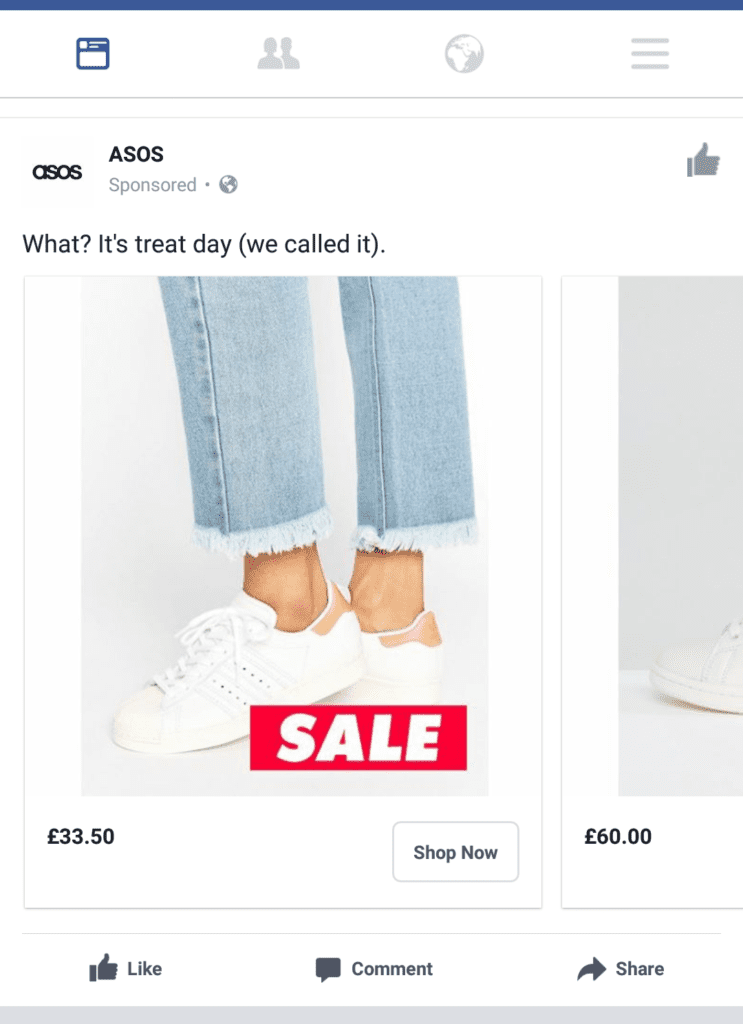 asos facebook ad example