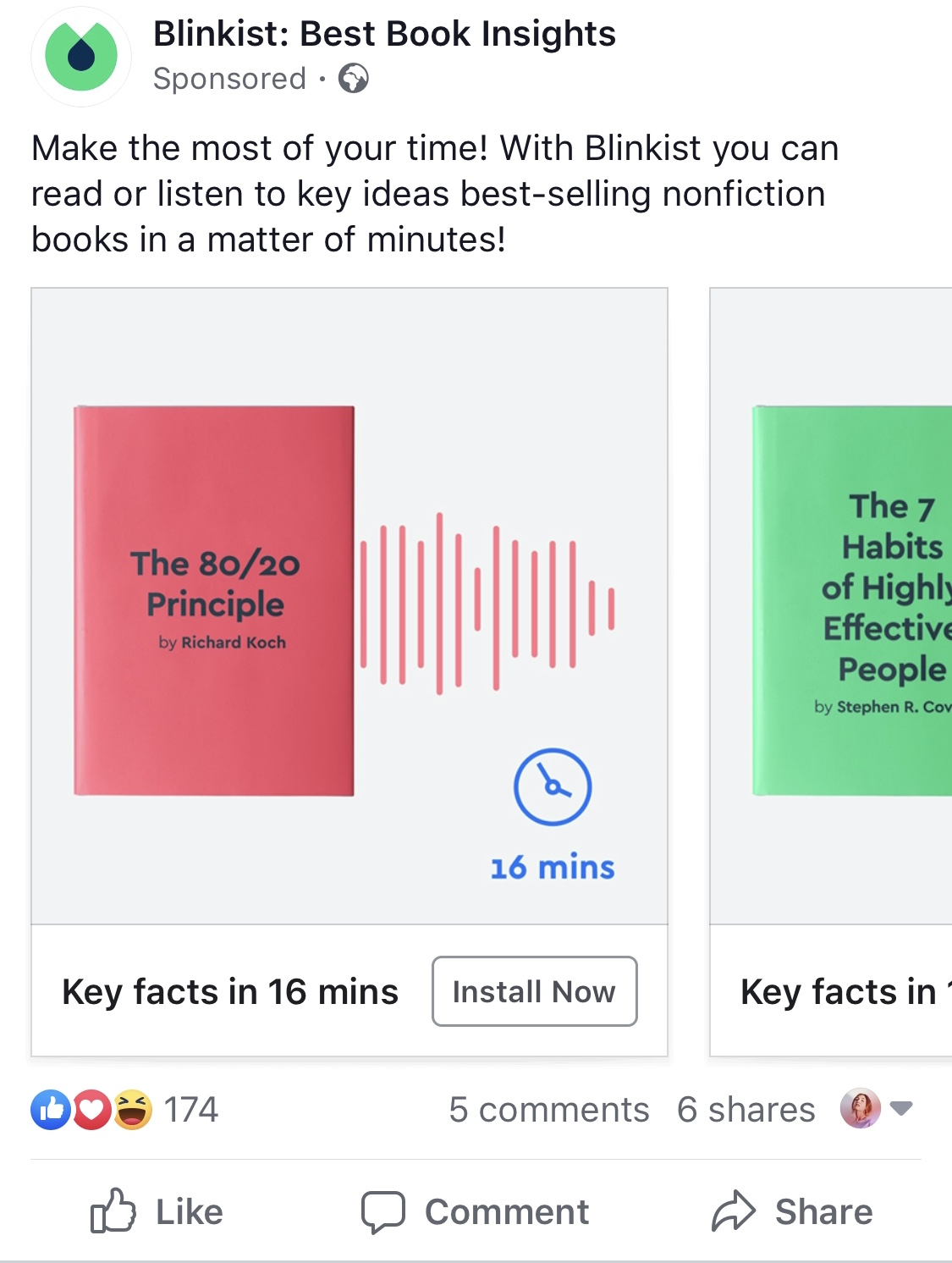 blinkist facebook ad