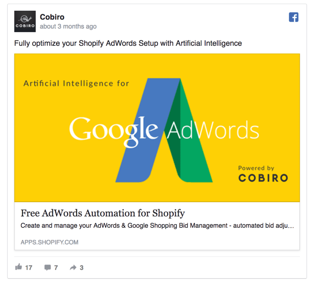 cobiro facebook ad example