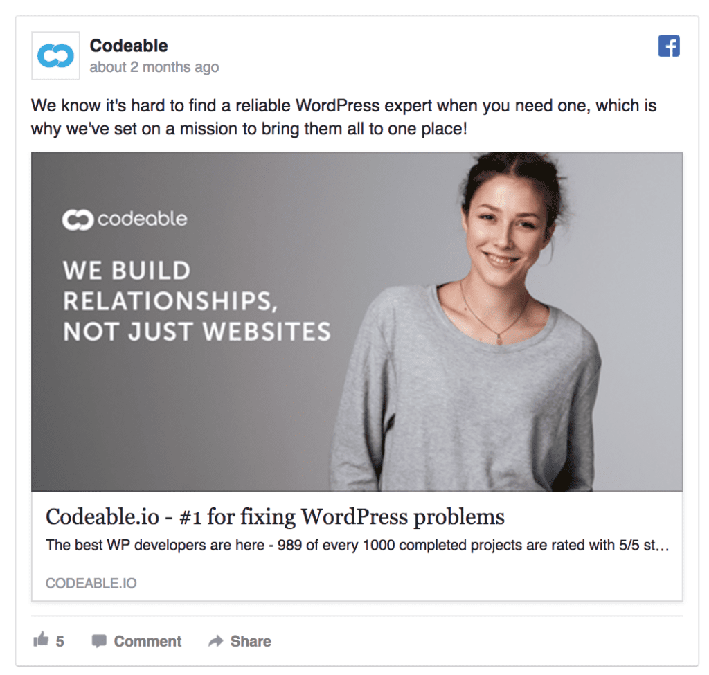 codeable facebook ad example