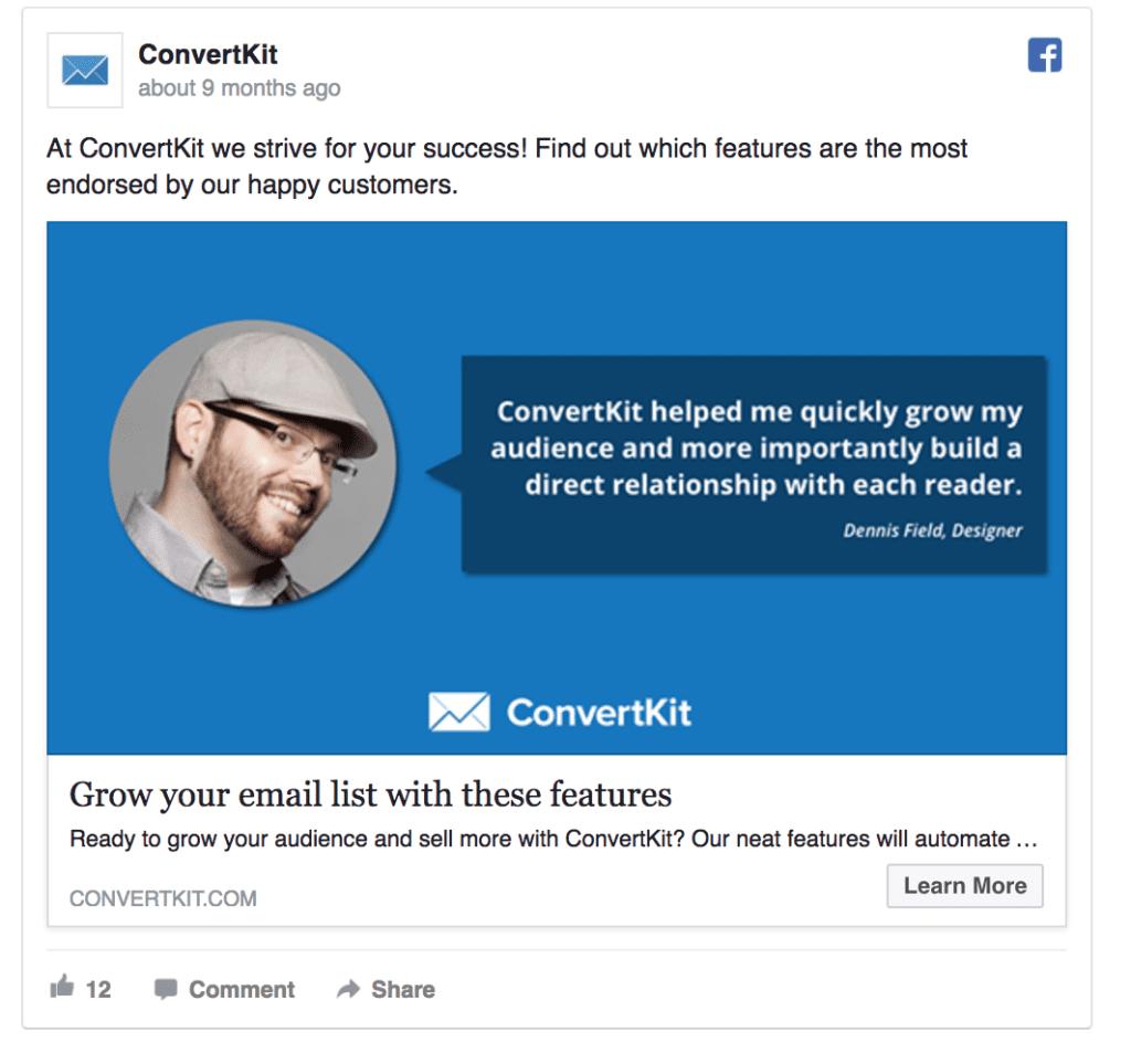 convertkit ad example