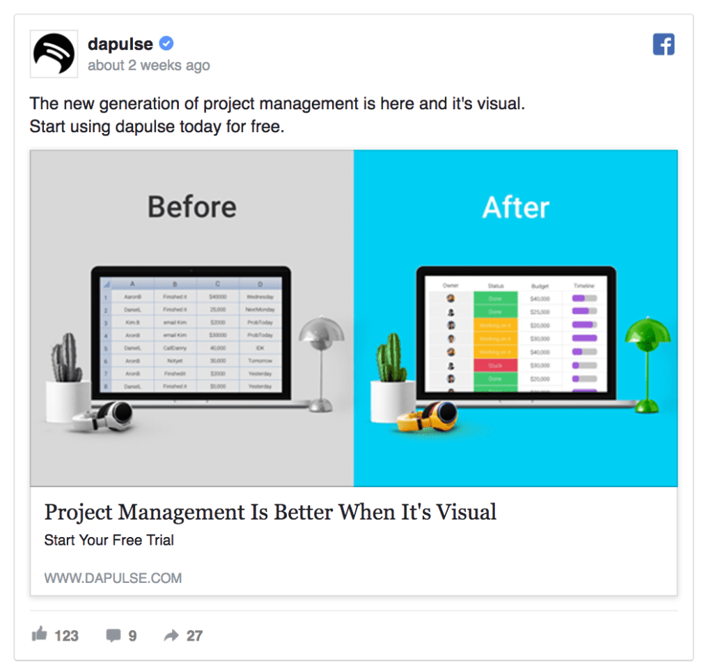 dapulse acebook ad example