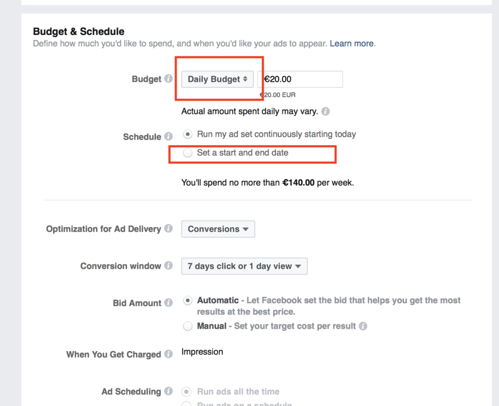 facebook ad campaign budget