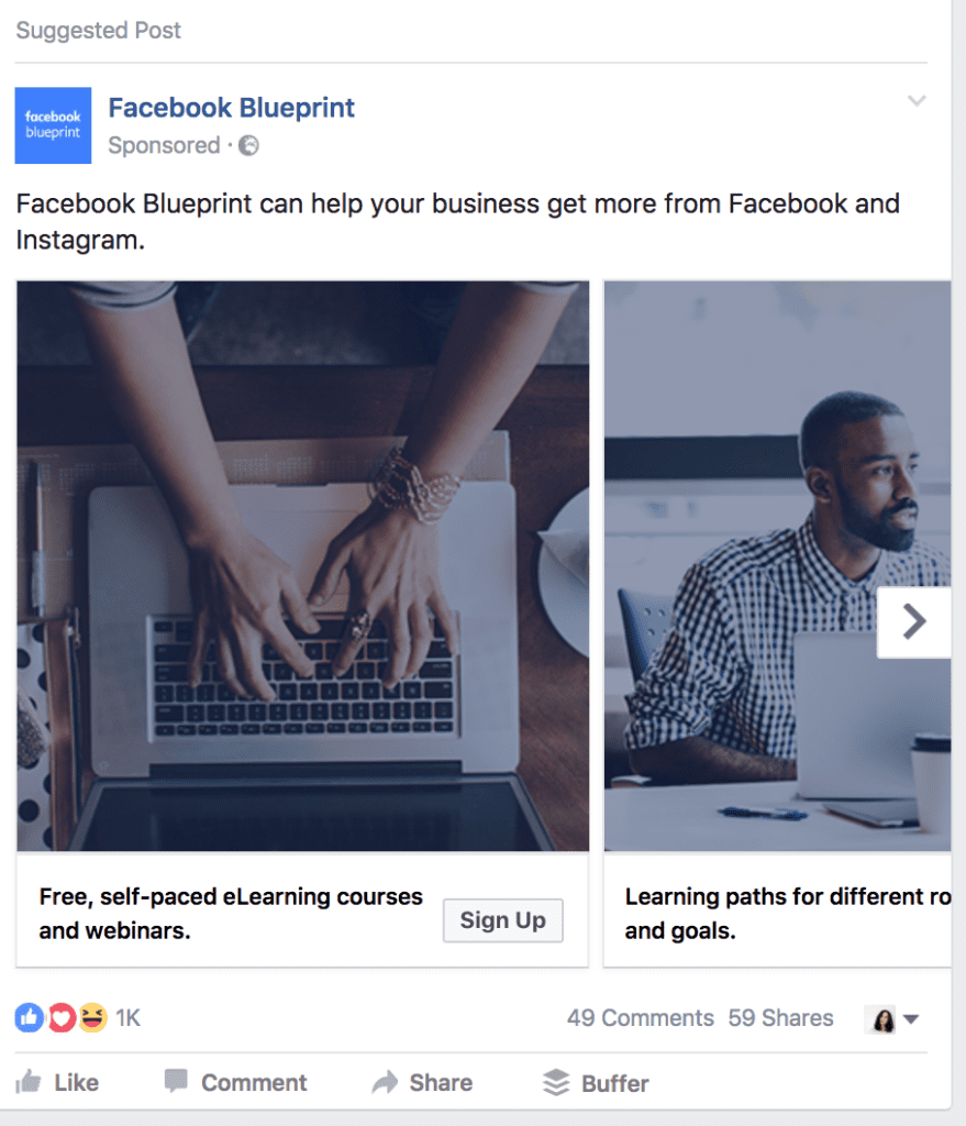 facebook blueprint ad