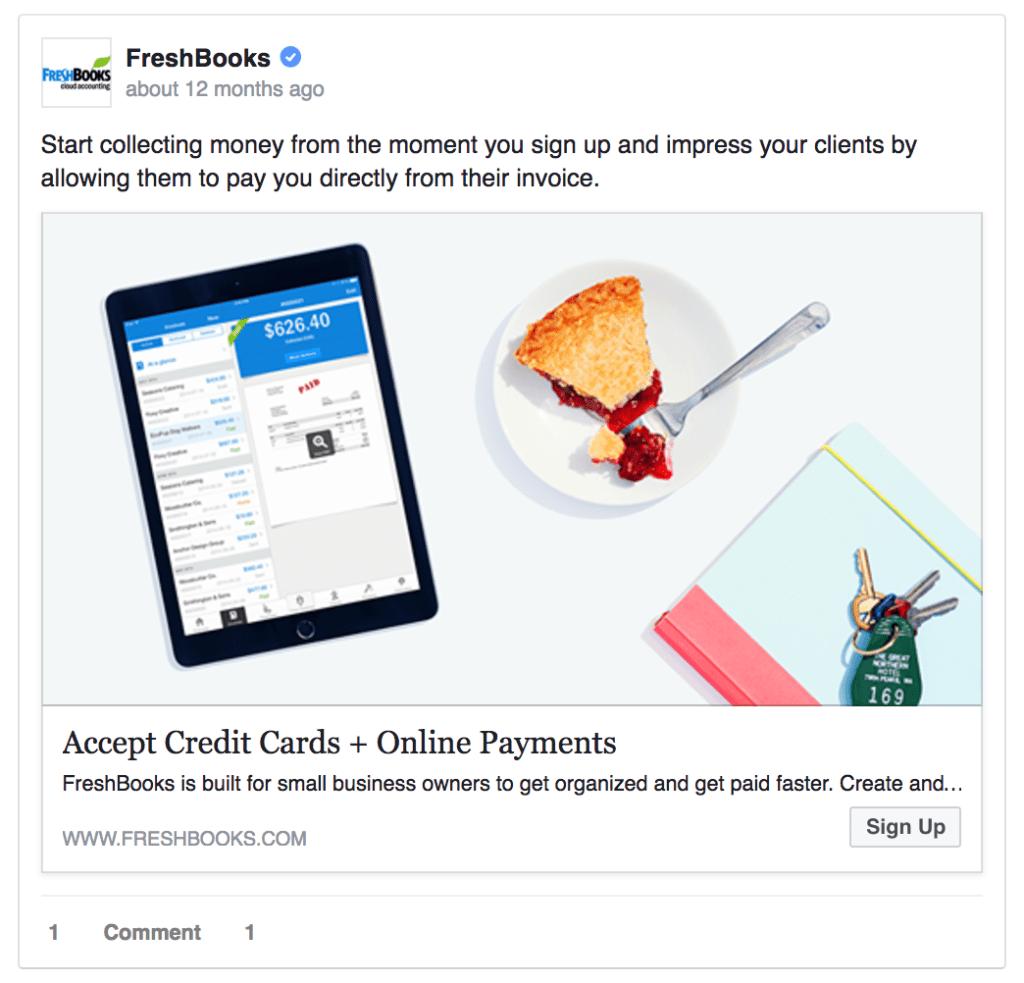 freshbooks saas facebook ad