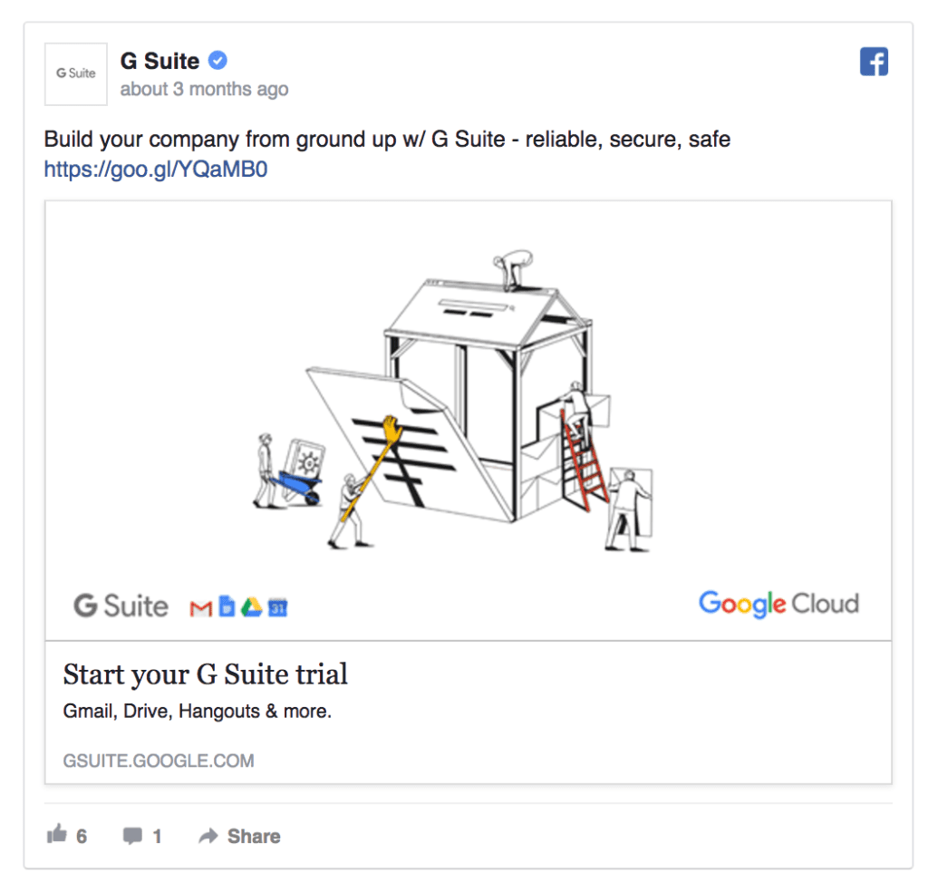 g suite facebook ad