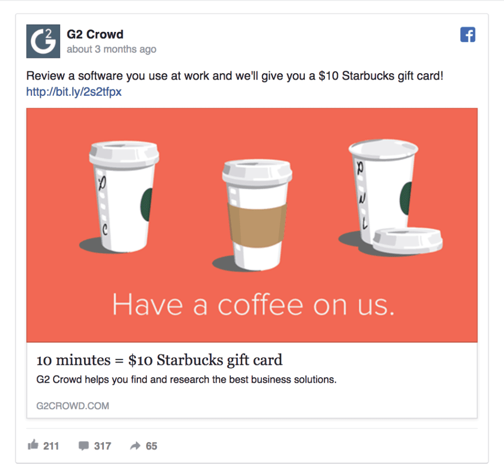 g2 crowd facebook ad example