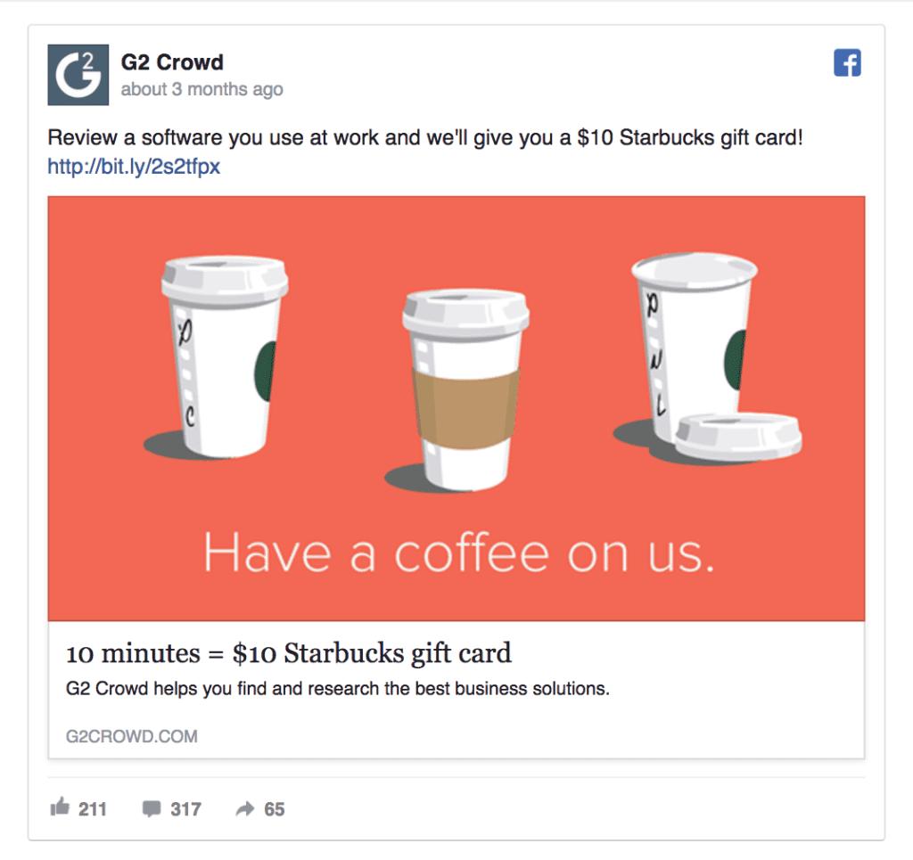 g2 crowd facebook ad example