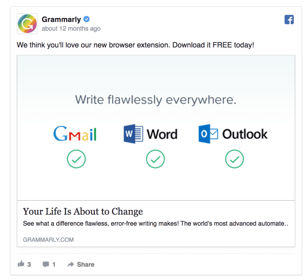 grammarly facebook ad