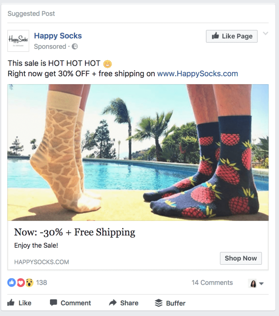 happy socks facebook ad