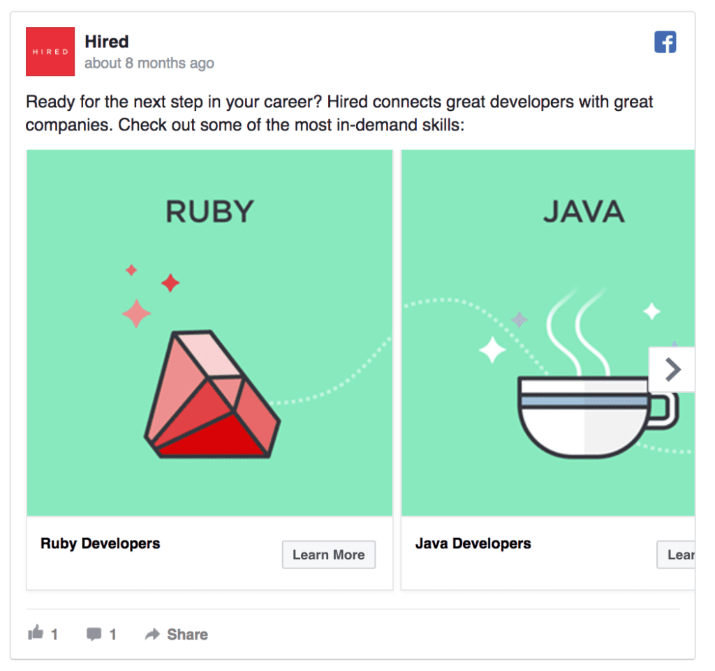 hired facebook ad