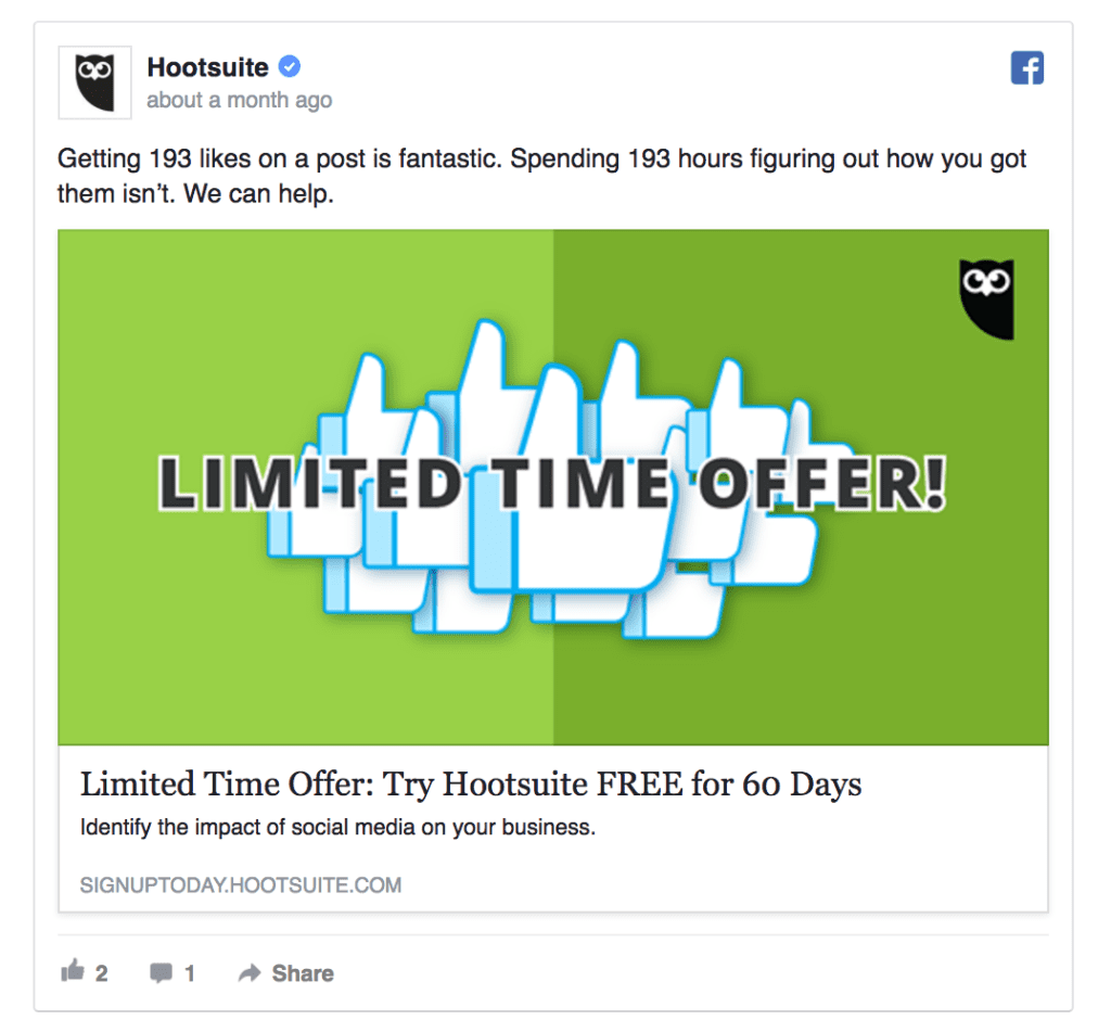 hootsuite facebook ad example