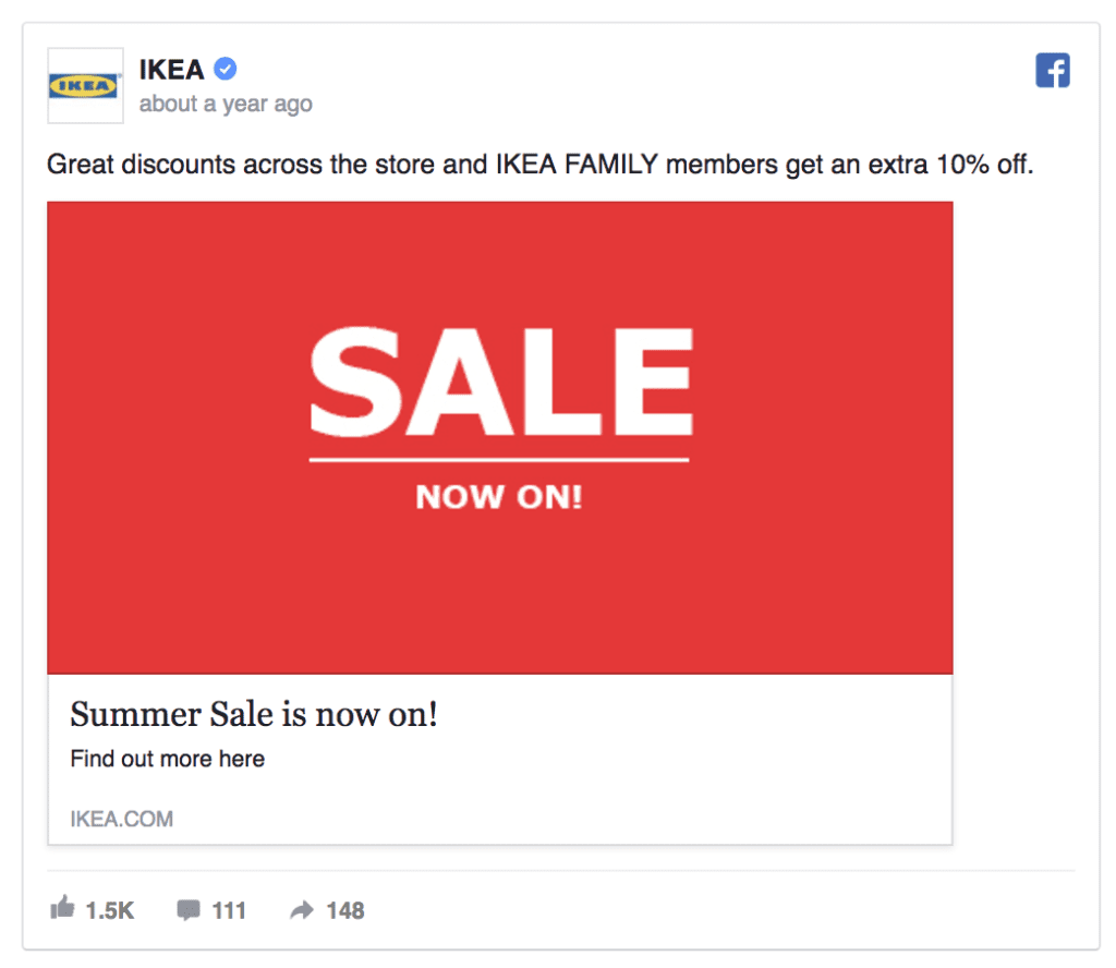 ikea facebook ad example
