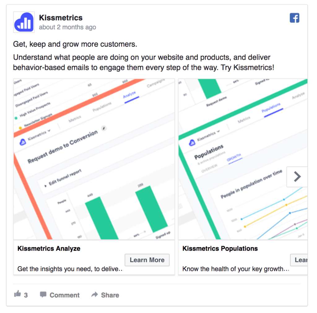 kissmetrics facebook ad example