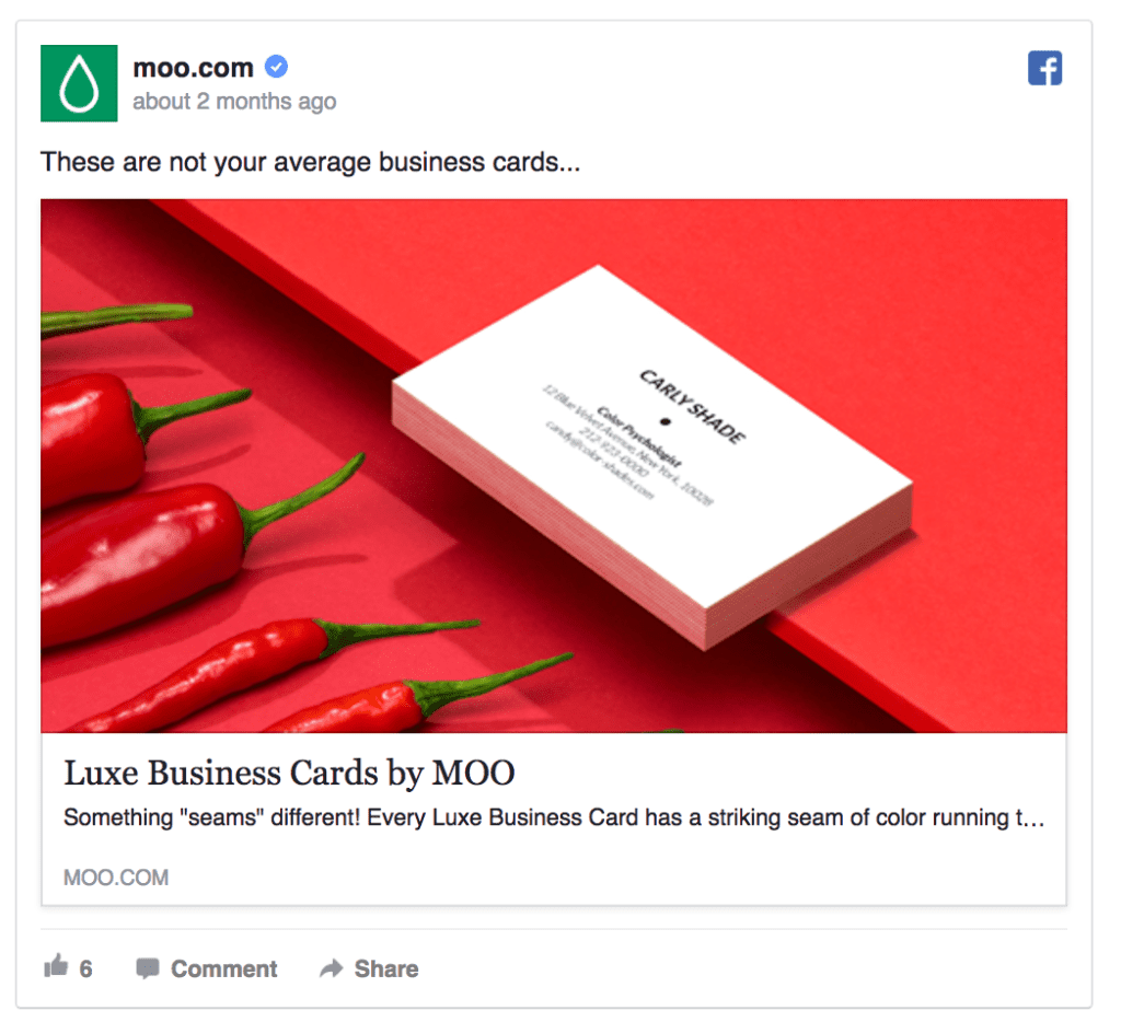 moo facebook ad example