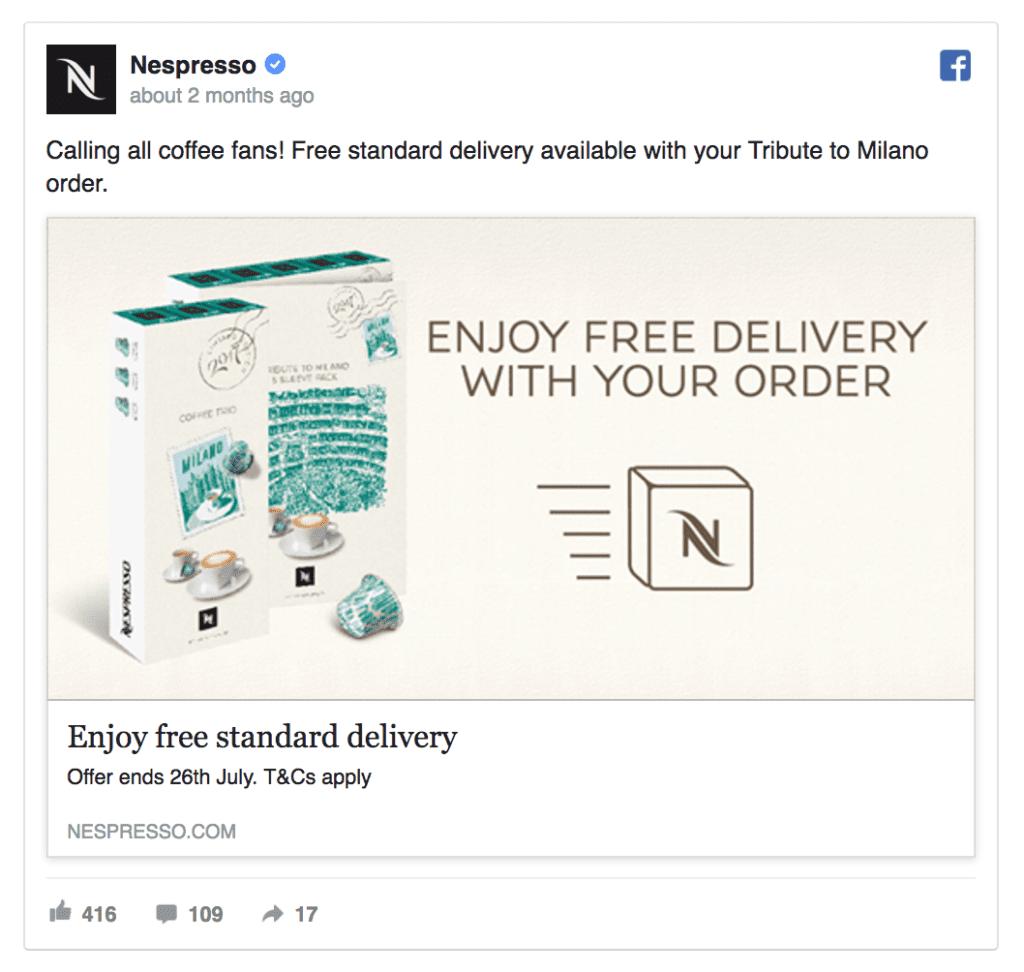 nespresso facebook ad example