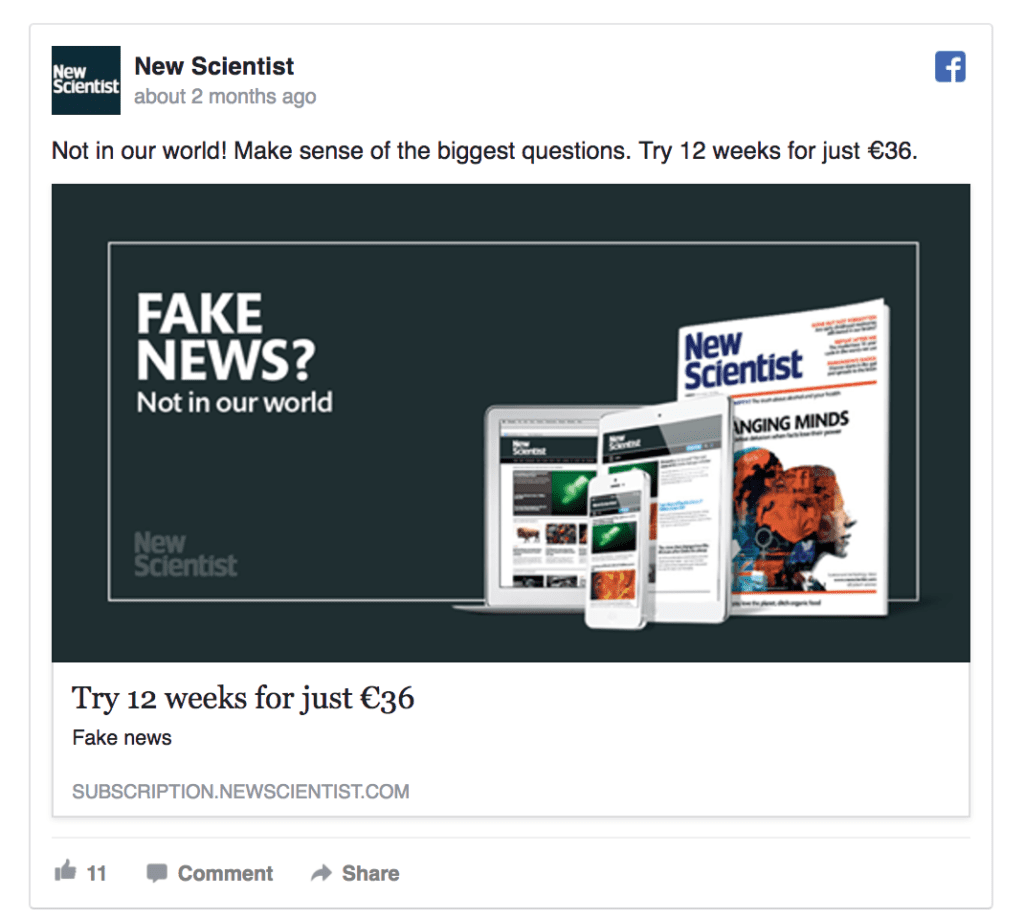 new scientist facebook ad example