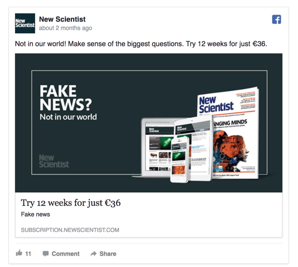 new scientist facebook ad example