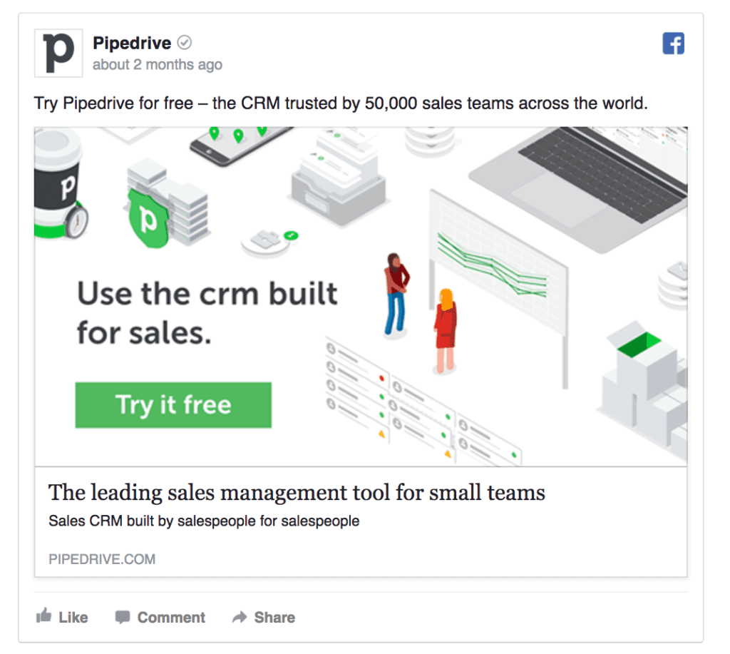 pipedrive facebook ad example