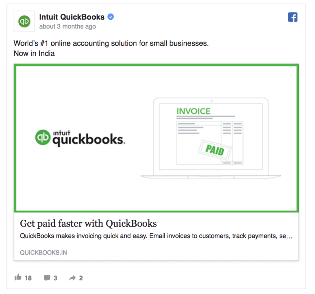 quickbooks facebook ad example