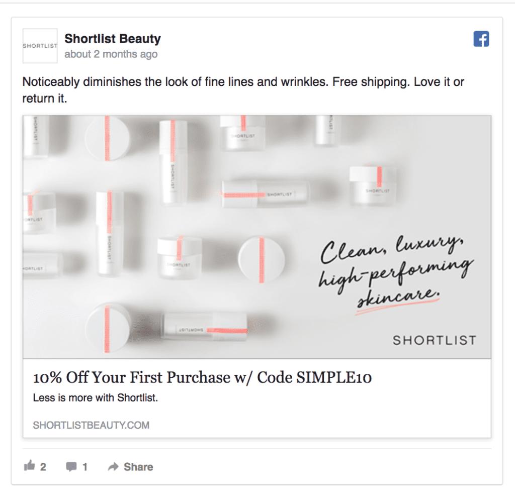 shortlist beauty facebook ad