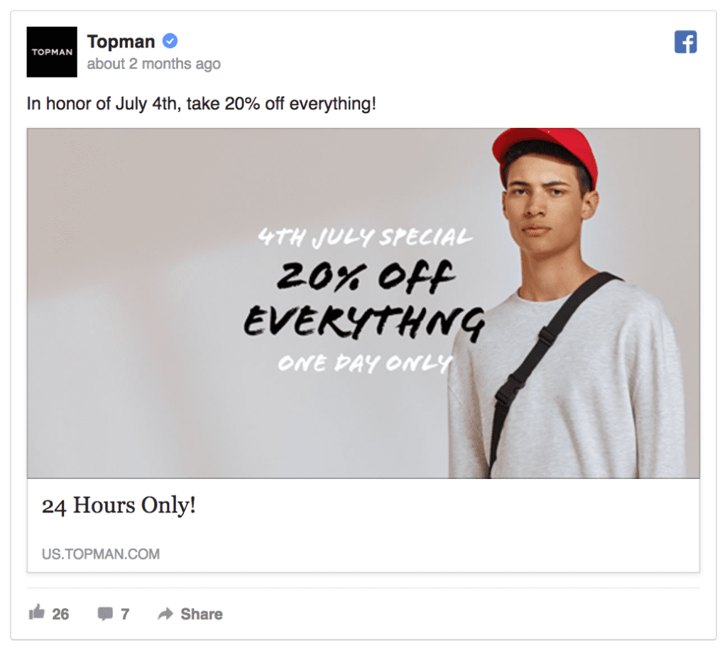 topman facebook ad example