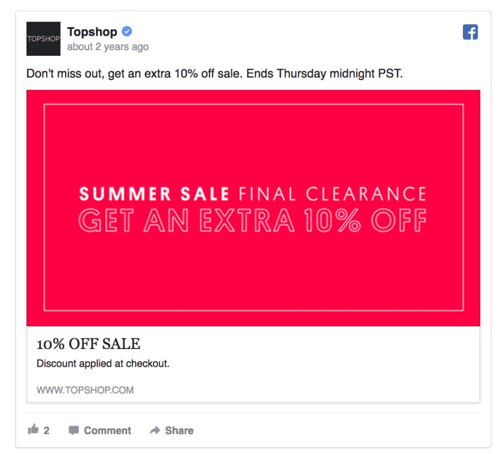 topshop facebook ad