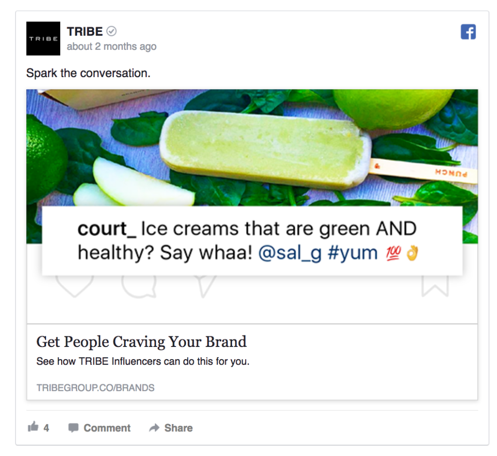 tribe facebook ad example