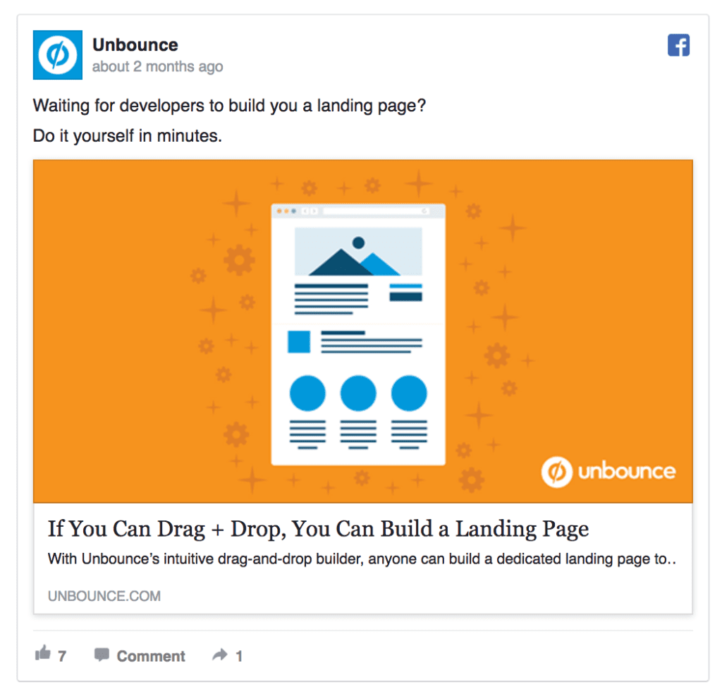 unbounce facebook ad example