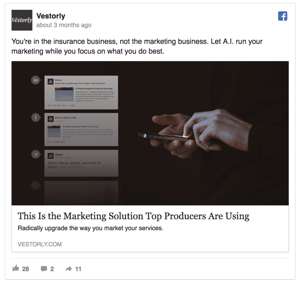 vestorly facebook ad example
