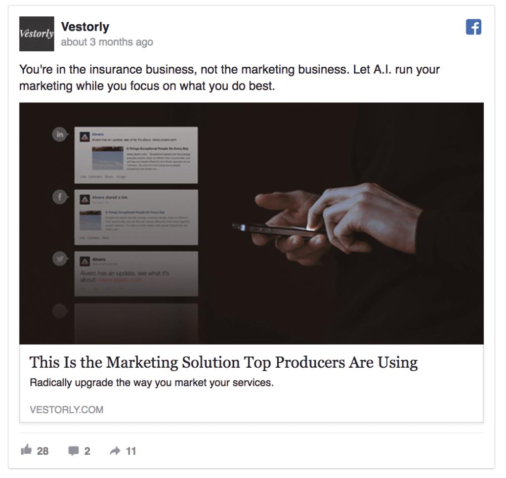 vestorly facebook ad example