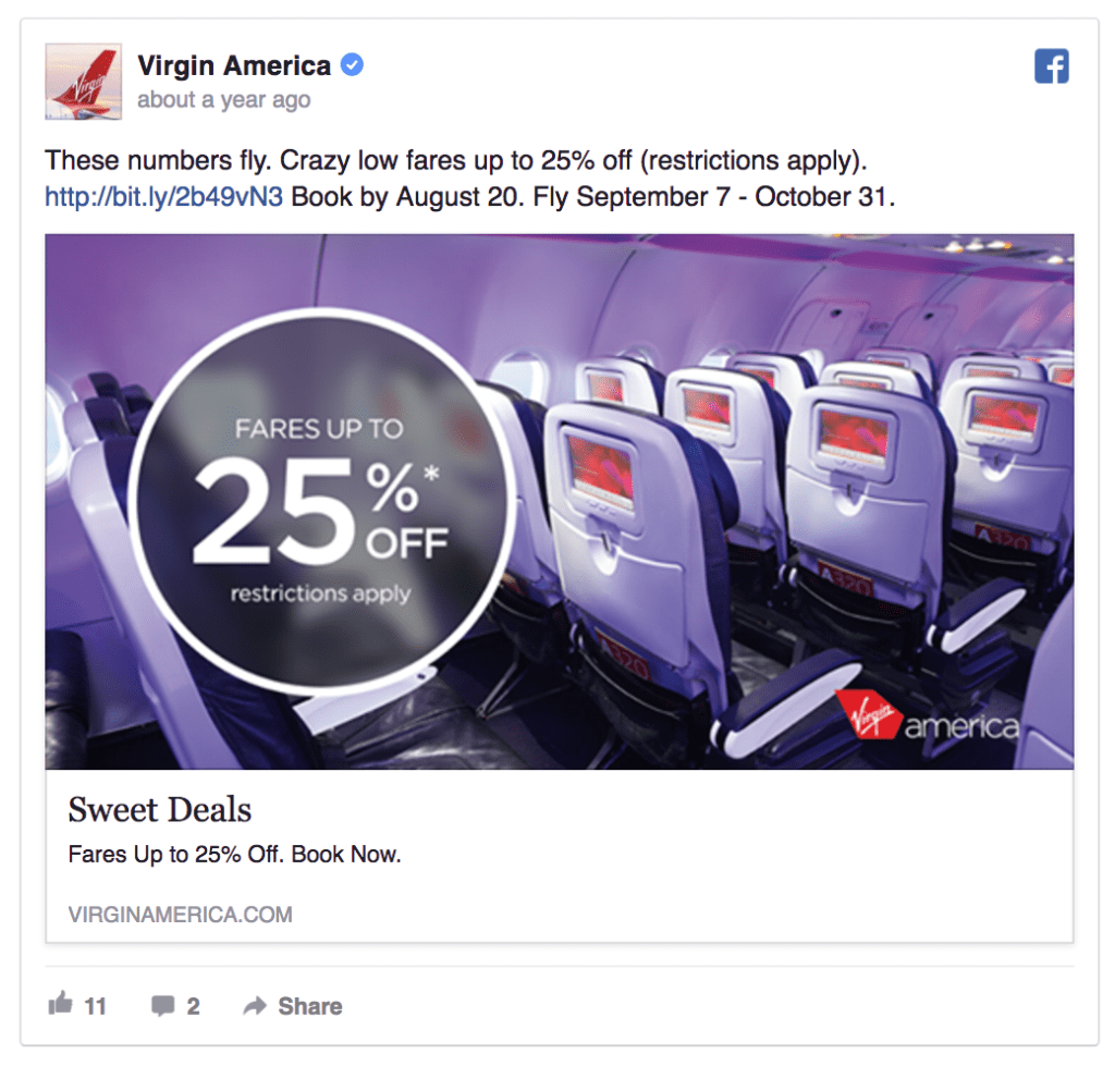 virgin amerca facebook ad example