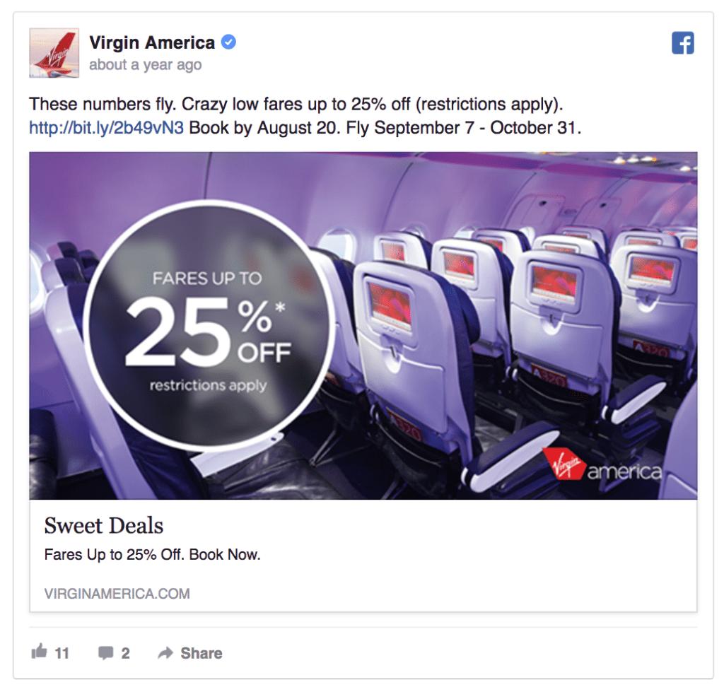 virgin amerca facebook ad example