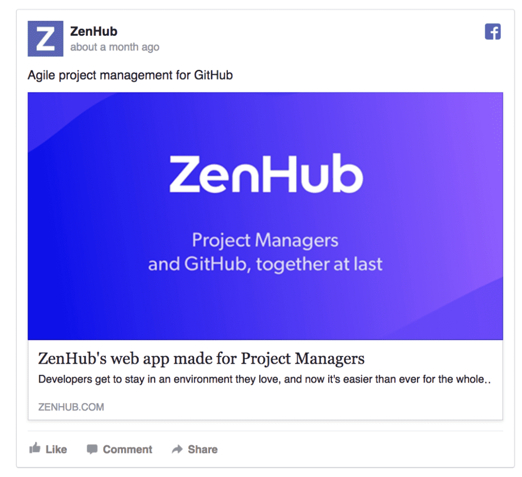 zenhub facebook ad example